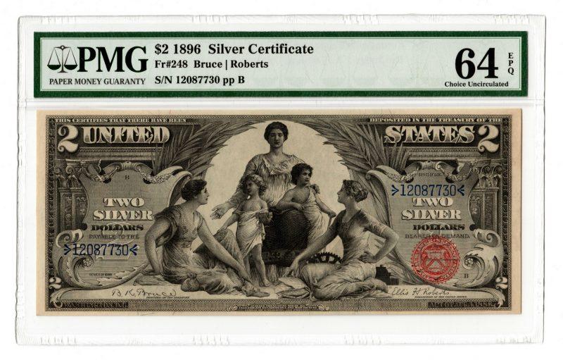 "Lot 40: 1896 U.S. $2 ""Educational"" Silver Certificate"