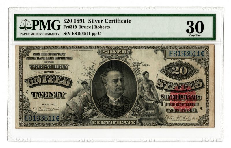 """Lot 41: 1891 U.S. $20 """"Manning"""" Red Seal Silver Certificate"""