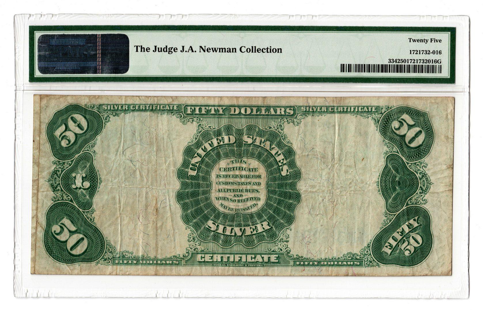 Lot 42: 1891 U.S. $50 Silver Certificate