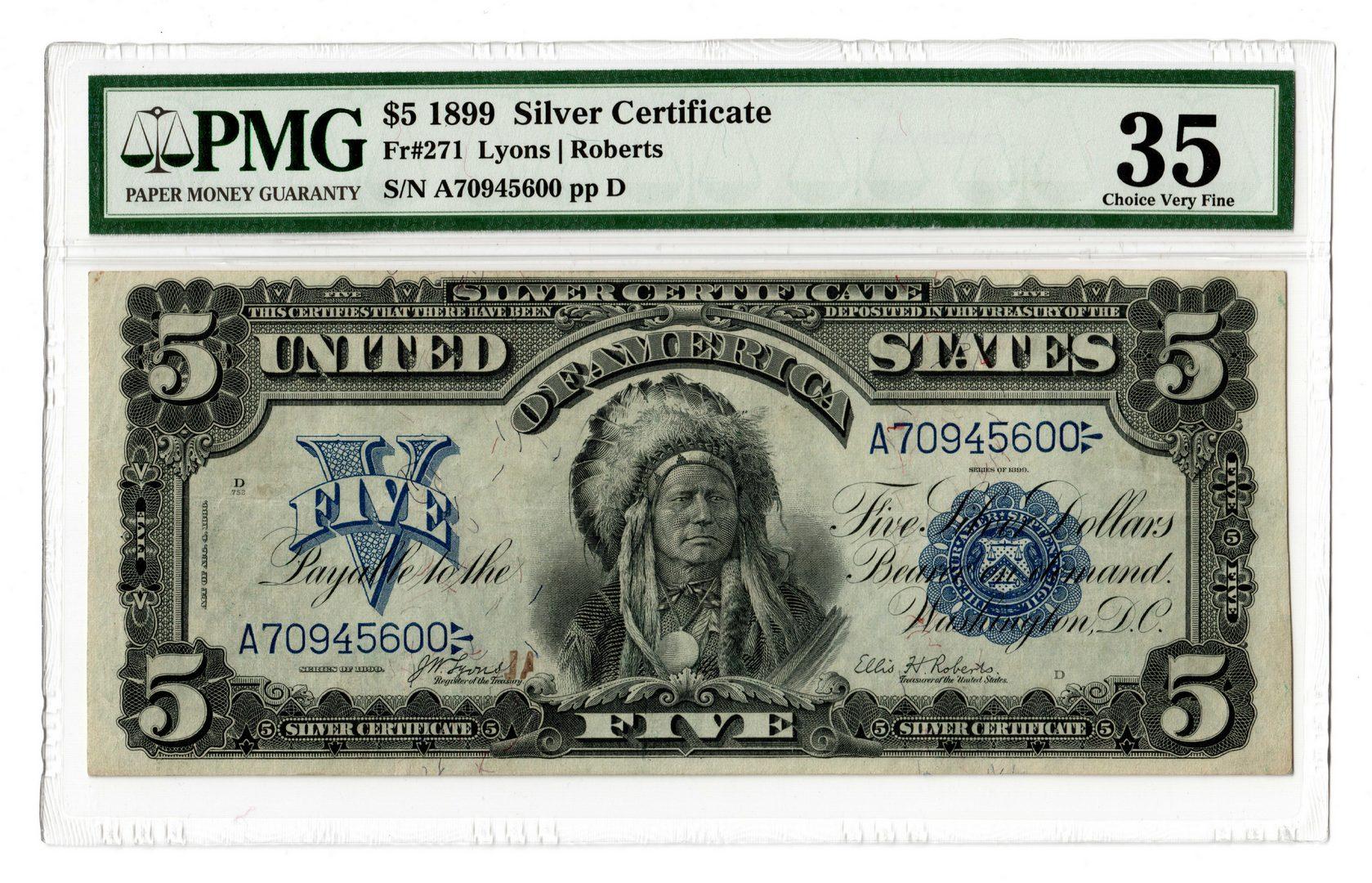 "Lot 43: 1899 U.S. $5 ""Indian Chief"" Silver Certificate"