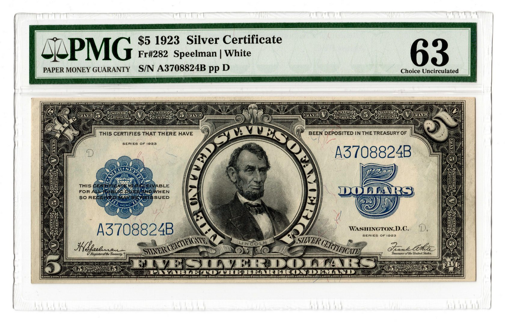 "Lot 44: 1923 U.S. $5 ""Porthole"" Silver Certificate"