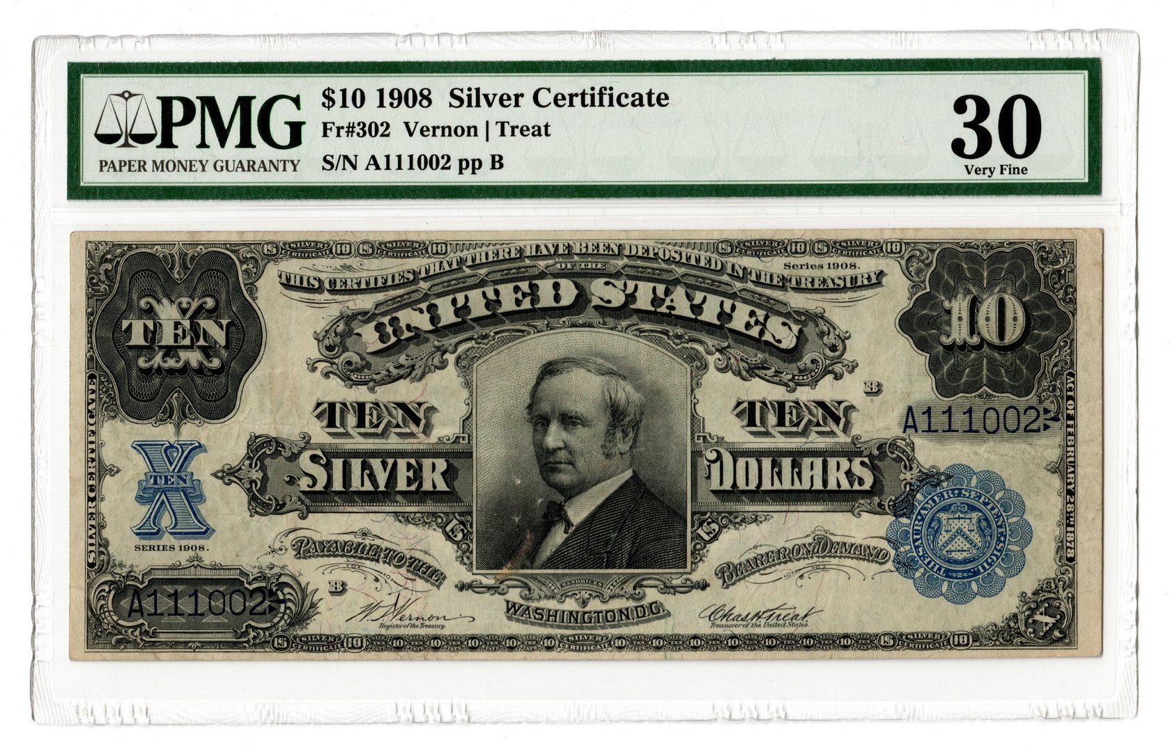 "Lot 45: 1908 U.S. $10 ""Tombstone"" Silver Certificate"