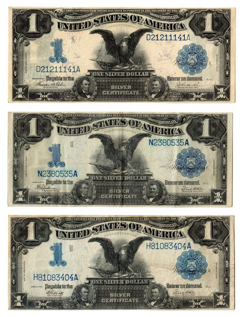 "Lot 46: 3 1899 U.S. $1 ""Black Eagle"" Silver Certificates"