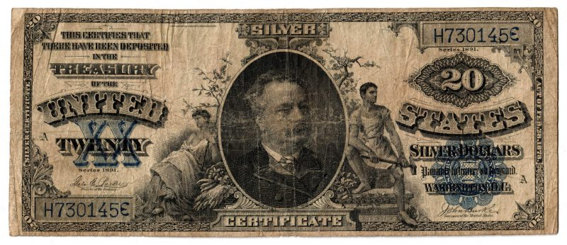 "Lot 47: 1891 U.S. $20 ""Manning"" Blue Seal Silver Certificate"