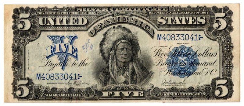 "Lot 48: 1899 U.S. $5 ""Indian Chief"" Silver Certificate"