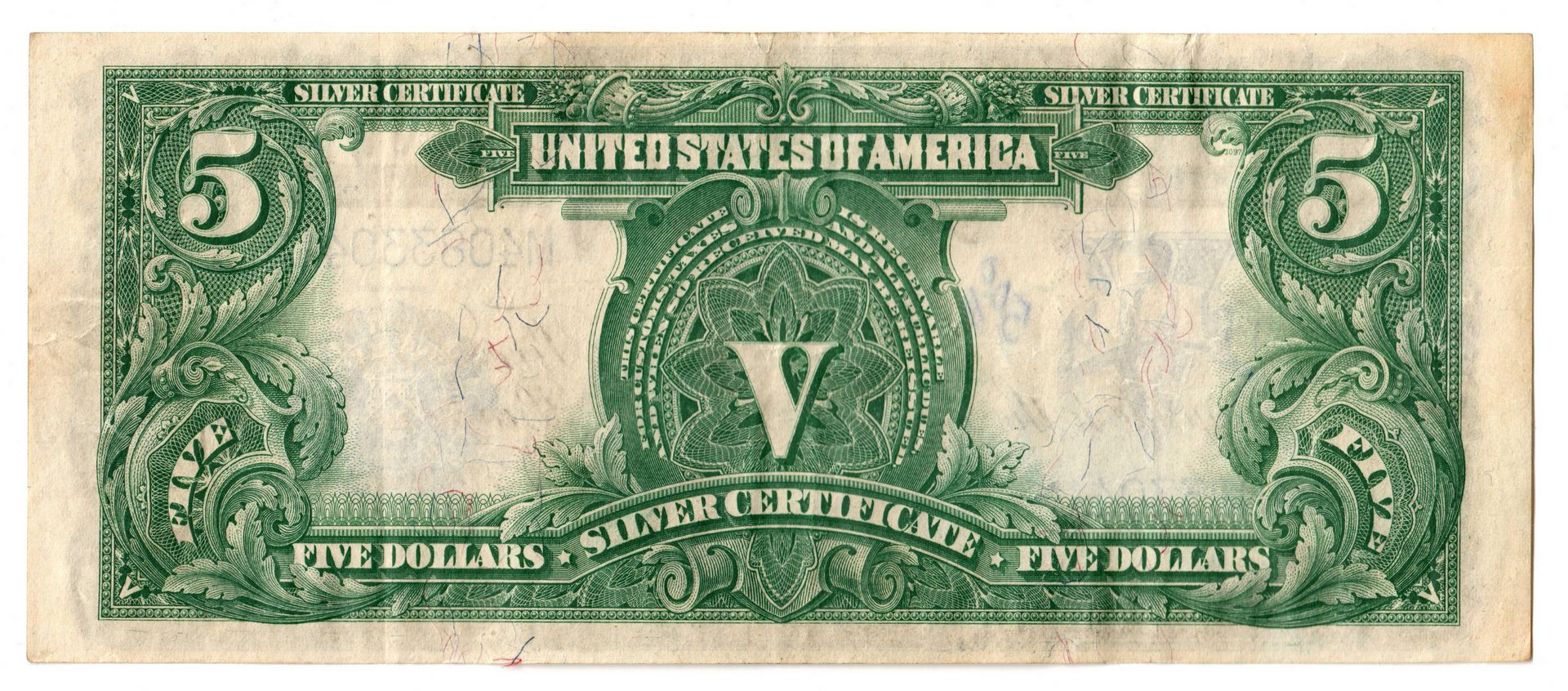 "Lot 48: 1899 U.S. $5 ""Indian Chief"" Silver Certificate"