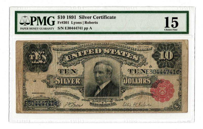 "Lot 49: 1891 U.S. $10 ""Tombstone"" Silver Certificate"