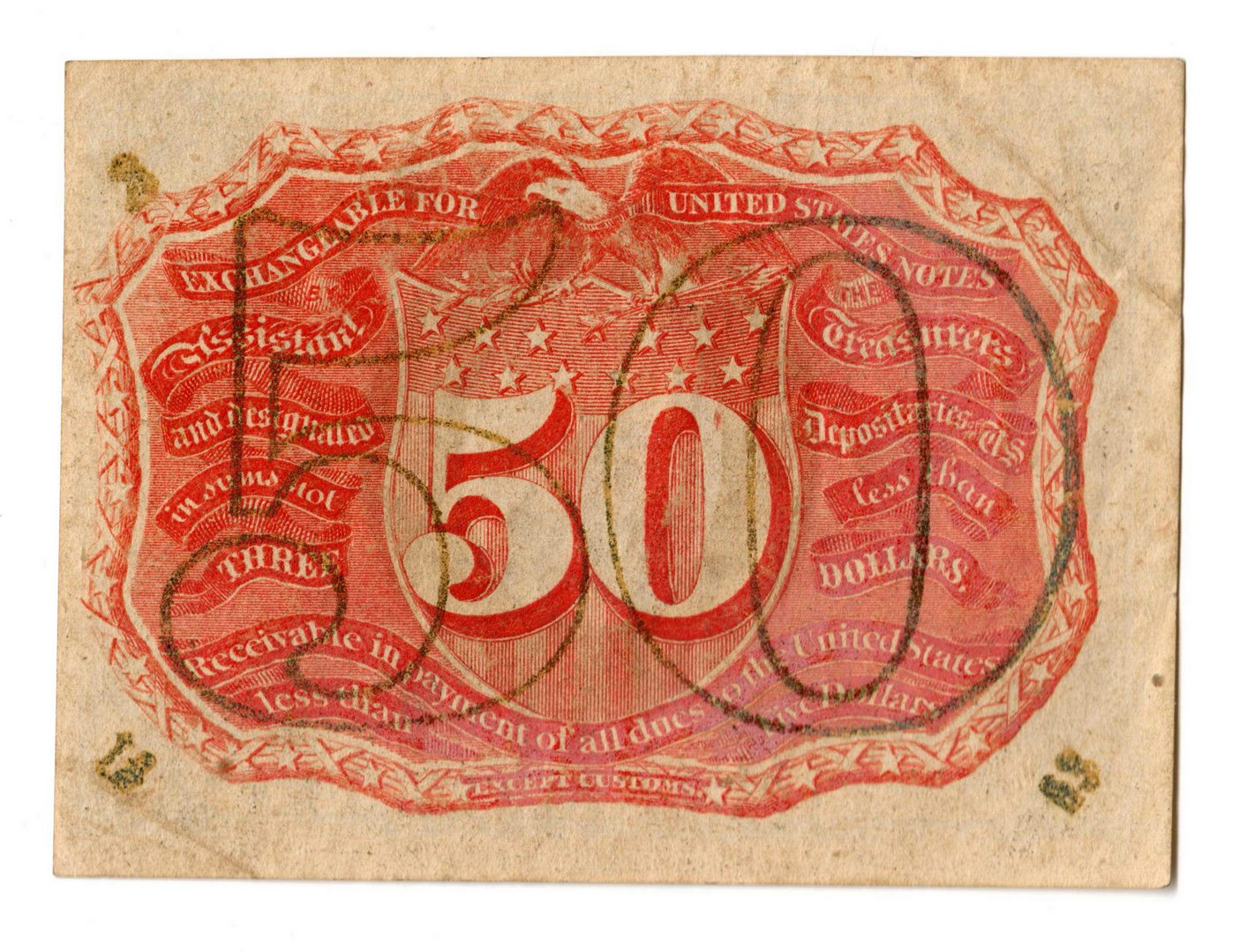 Lot 4: Group Of Seven 50 Cent  U.S. Fractional Banknotes