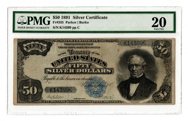 Lot 50: 1891 U.S. $50 Silver Certificate