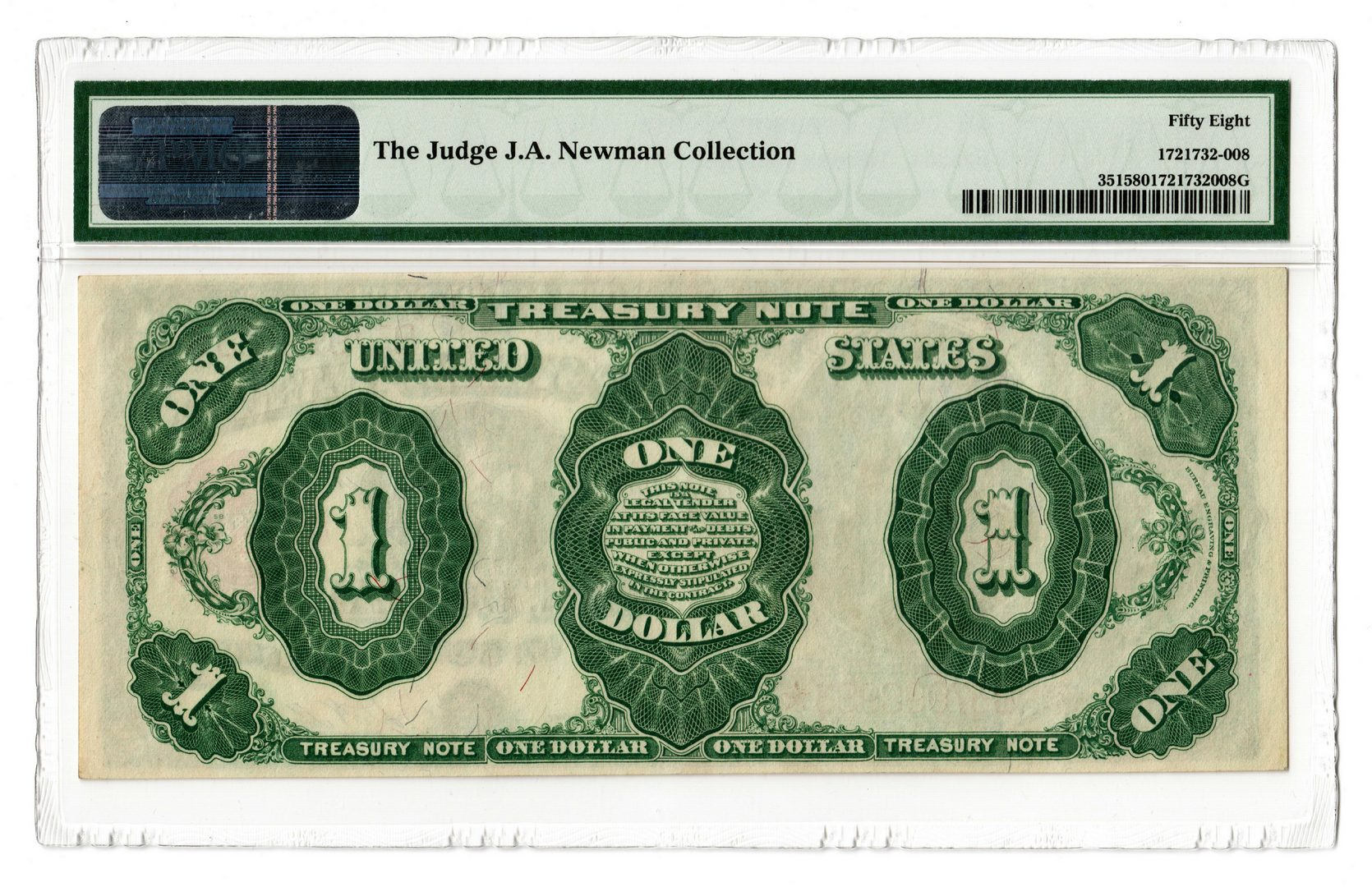 "Lot 52: 1891 U.S. $1 ""Stanton"" Treasury Note, Star"