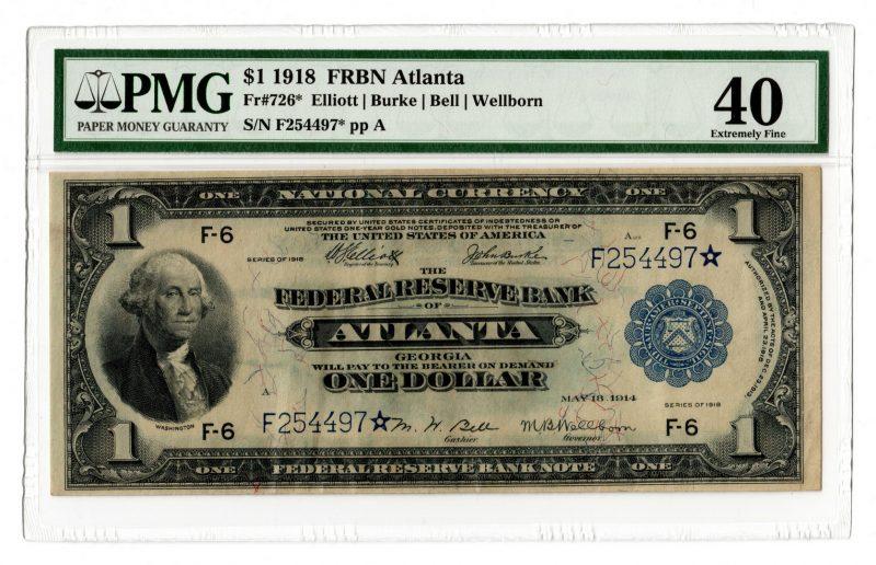 "Lot 53: 1918 $1 ""Flying Eagle"" Atlanta Note, Star"