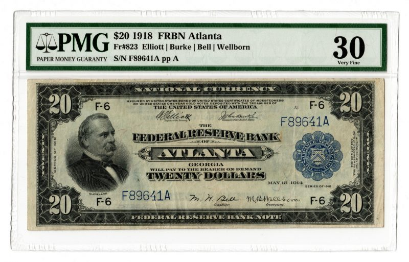 Lot 54: 1918 $20 Federal Reserve Bank of Atlanta Note
