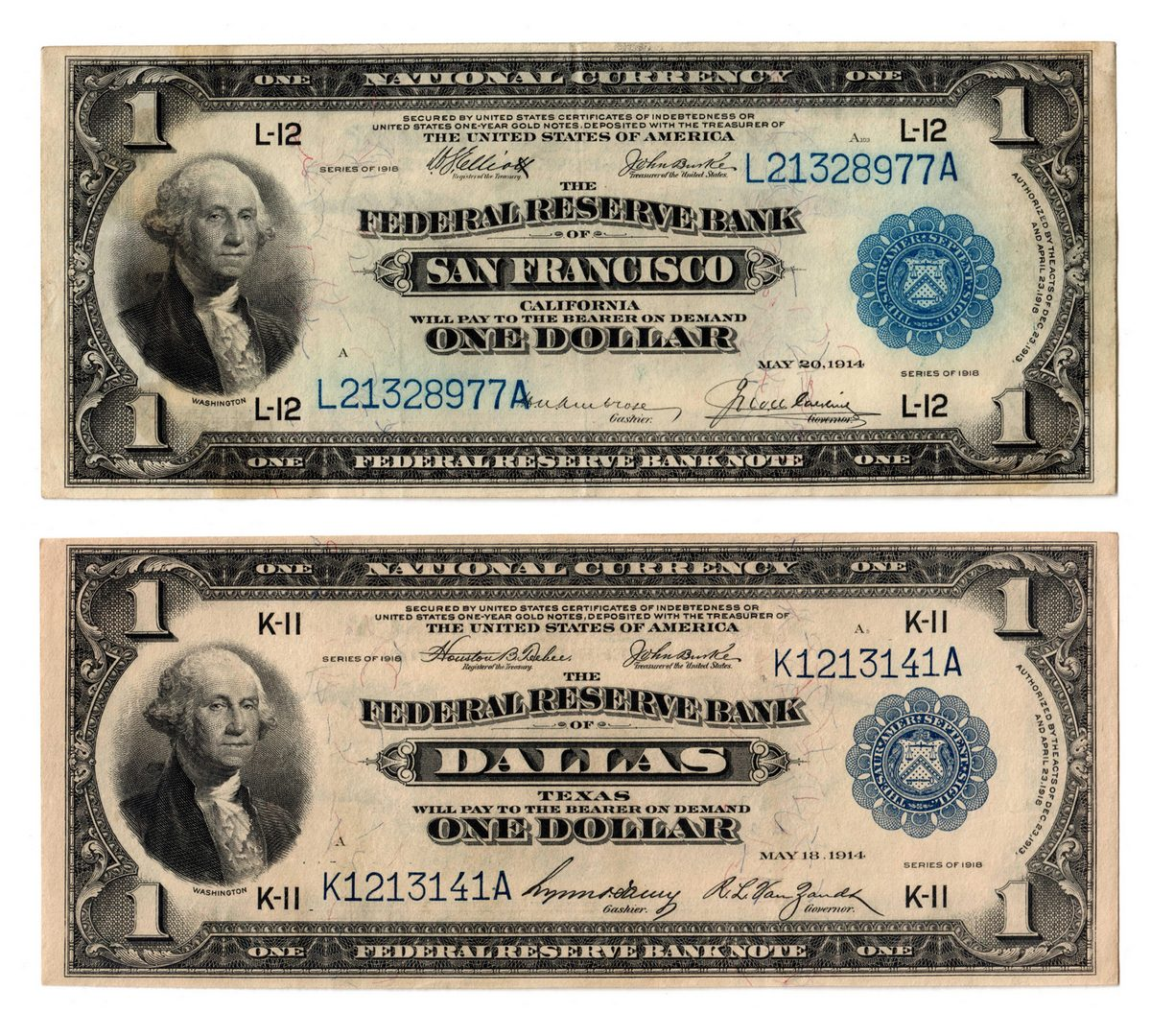 "Lot 55: 1918 $1 ""Flying Eagle"" Notes, CA & TX Pair"