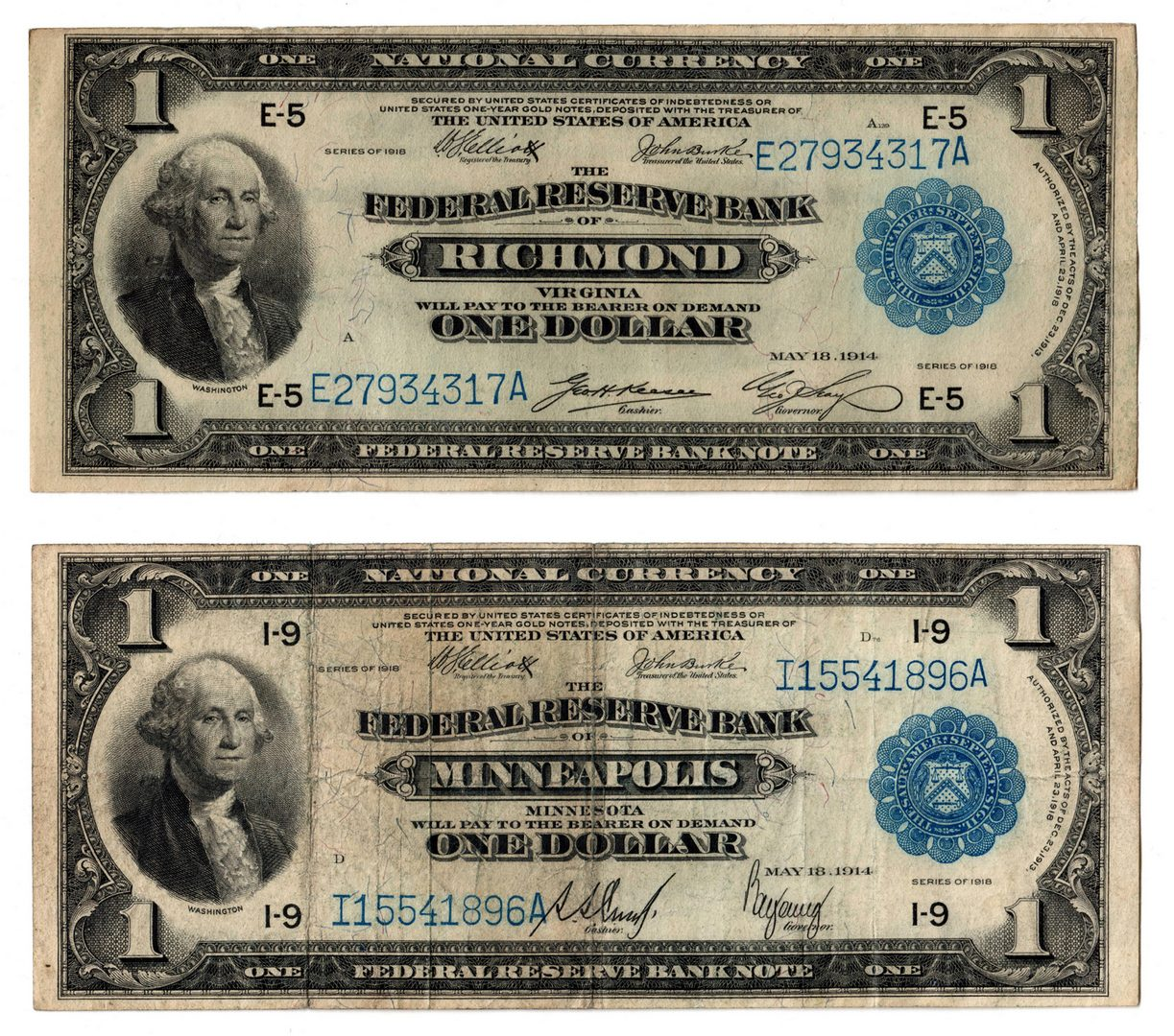 "Lot 57: Pair of 1918 $1 ""Flying Eagle"" Notes, VA & MN"