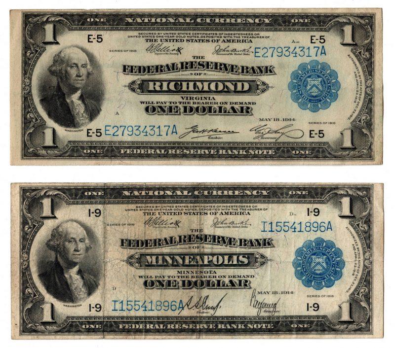"Lot 57: Pair of 1918 $1 ""Flying Eagle"" Notes, VA & MN"