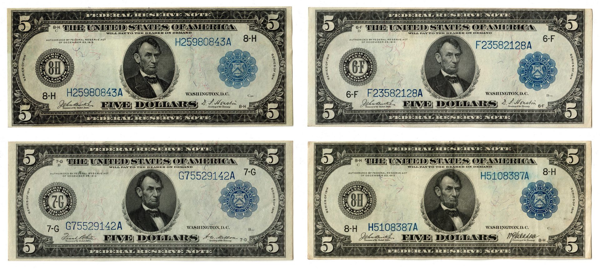 Lot 58: Four U.S. $5 Blue Seal Federal Reserve Notes