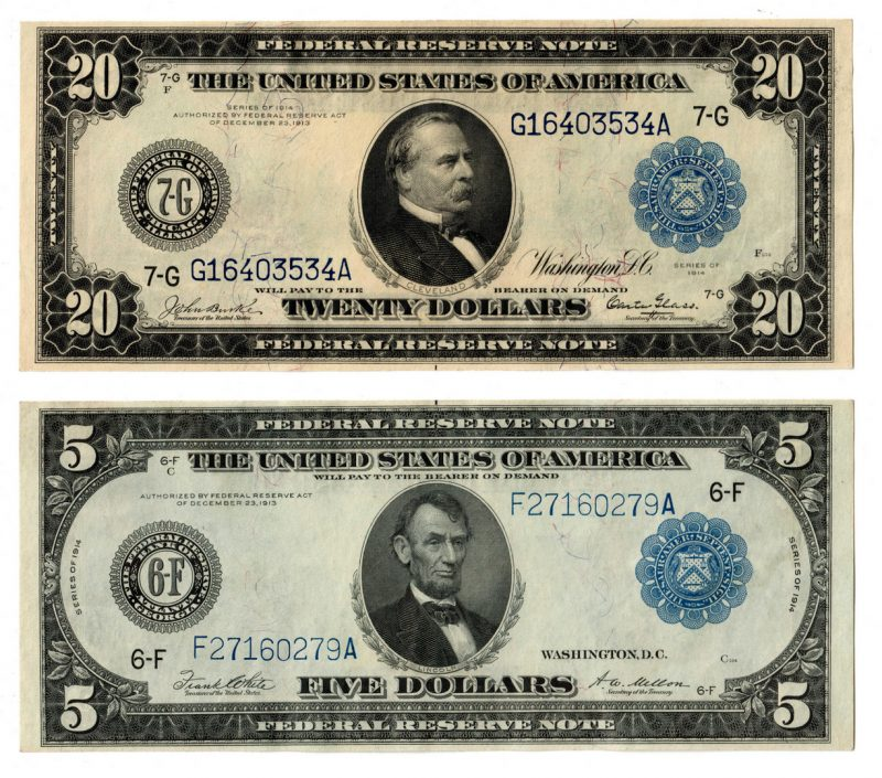 Lot 59: U.S. Blue Seal Federal Reserve Notes $20 and $5 Pair