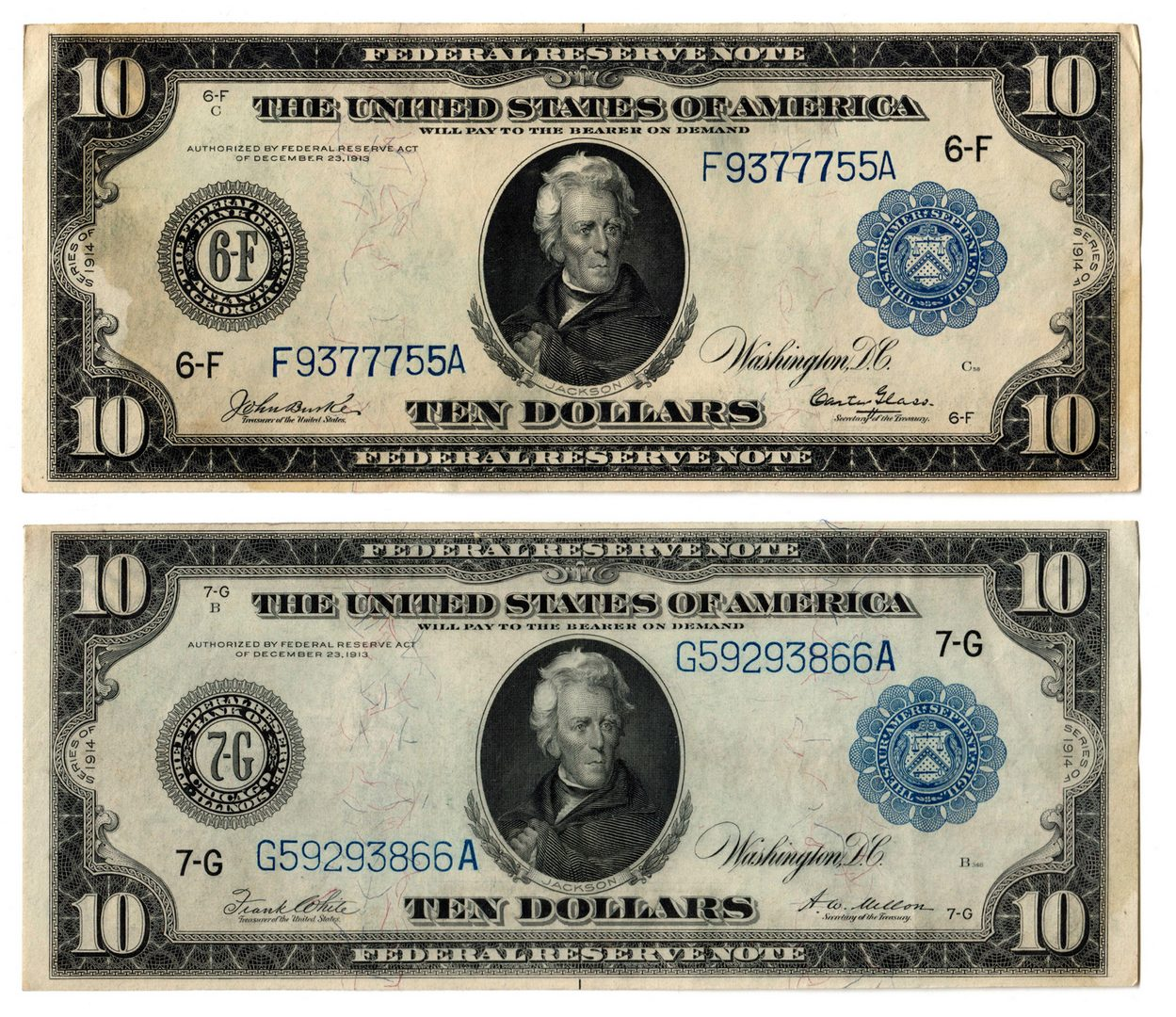 Lot 60: Two 1914 US $10 Blue Seal Federal Reserve Notes