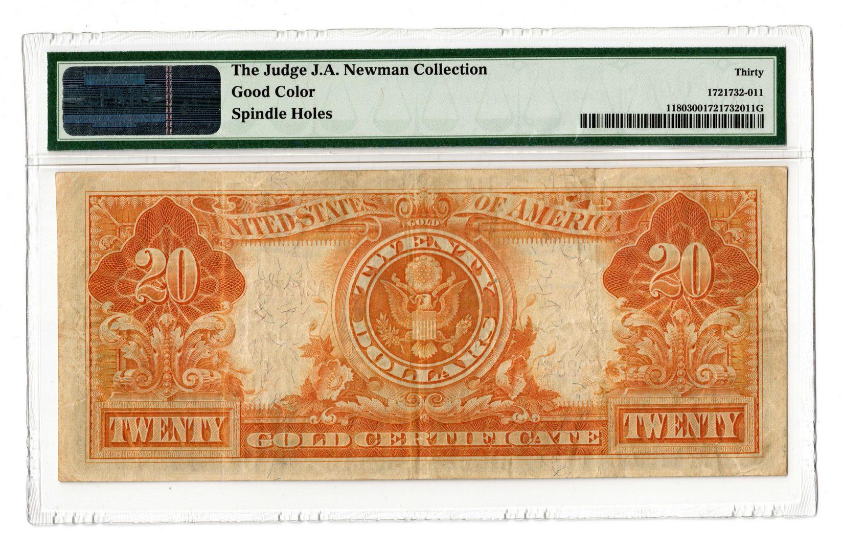 """Lot 61: 1905 U.S. $20 """"Technicolor"""" Gold Certificate"""