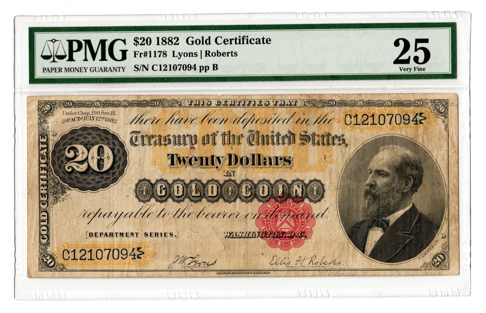 Lot 62: 1882 U.S. $20 Gold Certificate