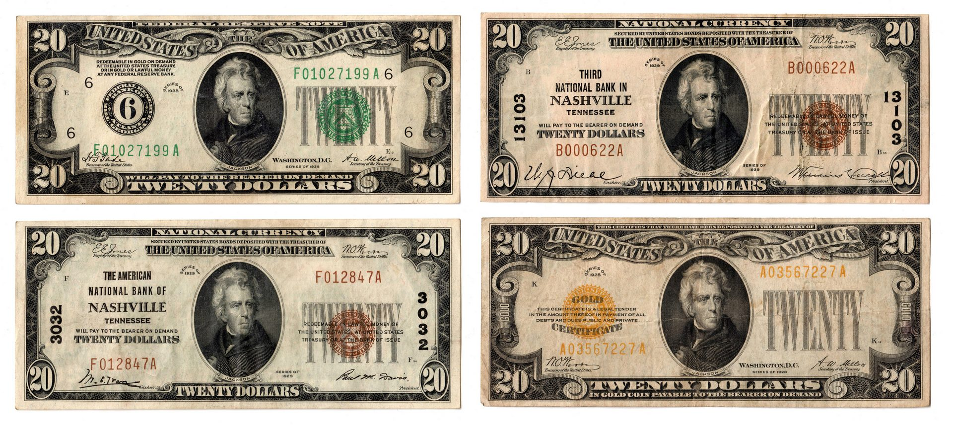 Lot 65: Two 1928 $20 Notes & Two 1929 $20 Notes, inc. Gold