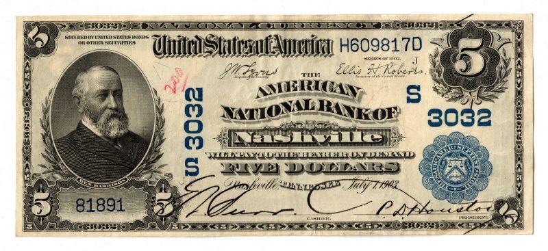 Lot 66: 1902 $5 American National Bank of Nashville Nation