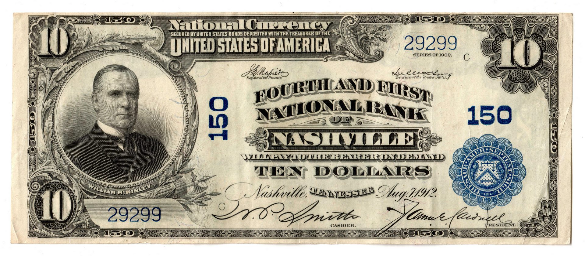 Lot 68: 1902 $10 Fourth and First National Bank, Nashville