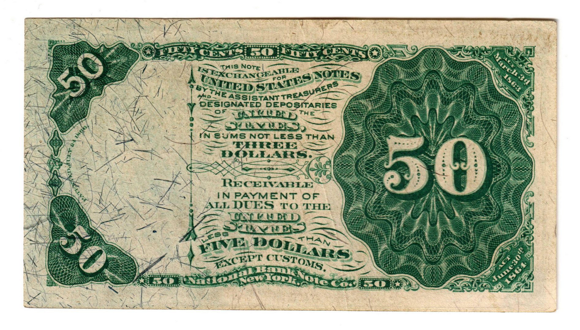 Lot 6: Pair Of 50 Cent U.S. Fractional Banknotes