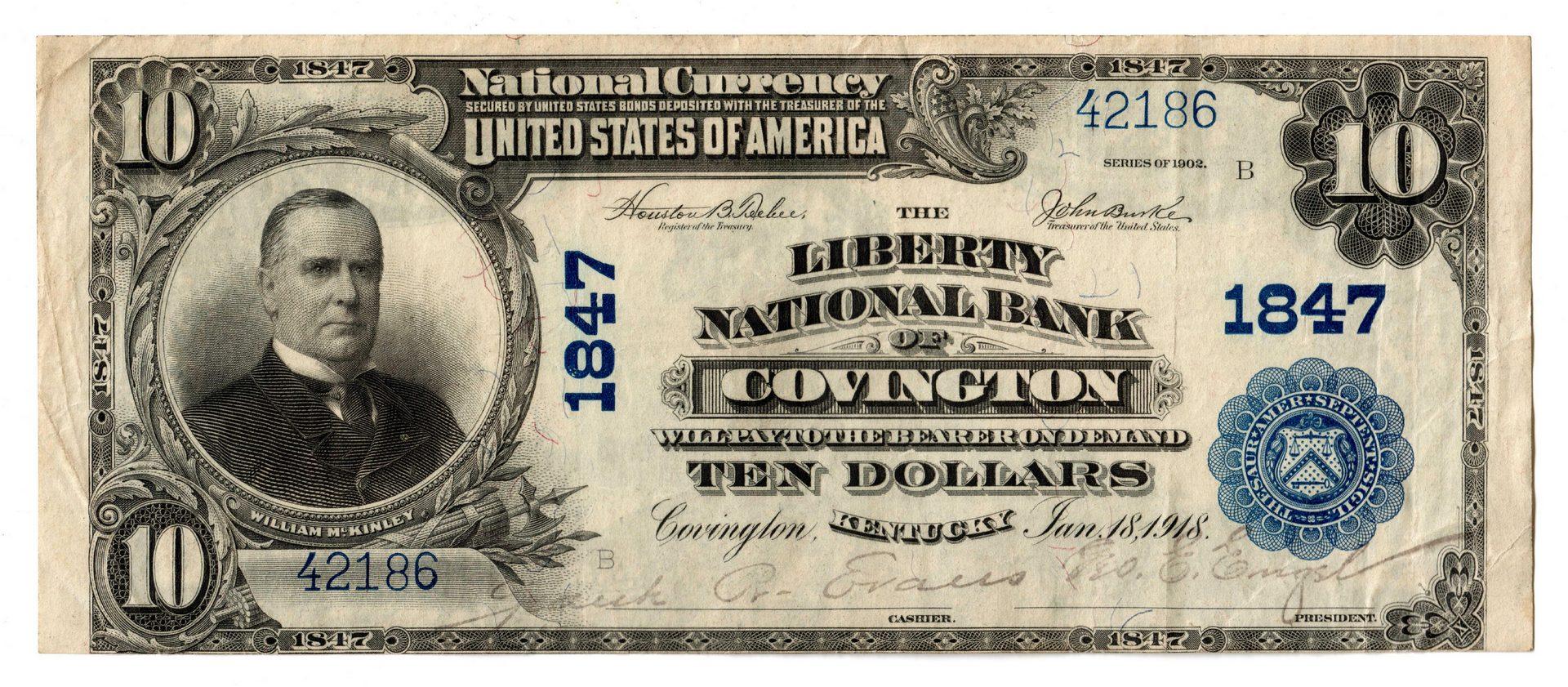 Lot 71: 1902 $10 Liberty National Bank of Covington Nation