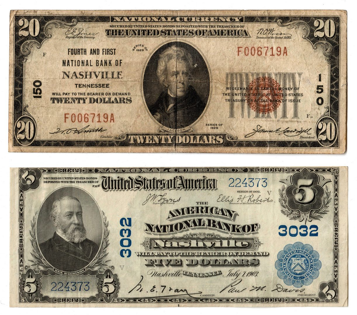 Lot 73: 1902 $5 & 1929 $20 National Currency Pairing