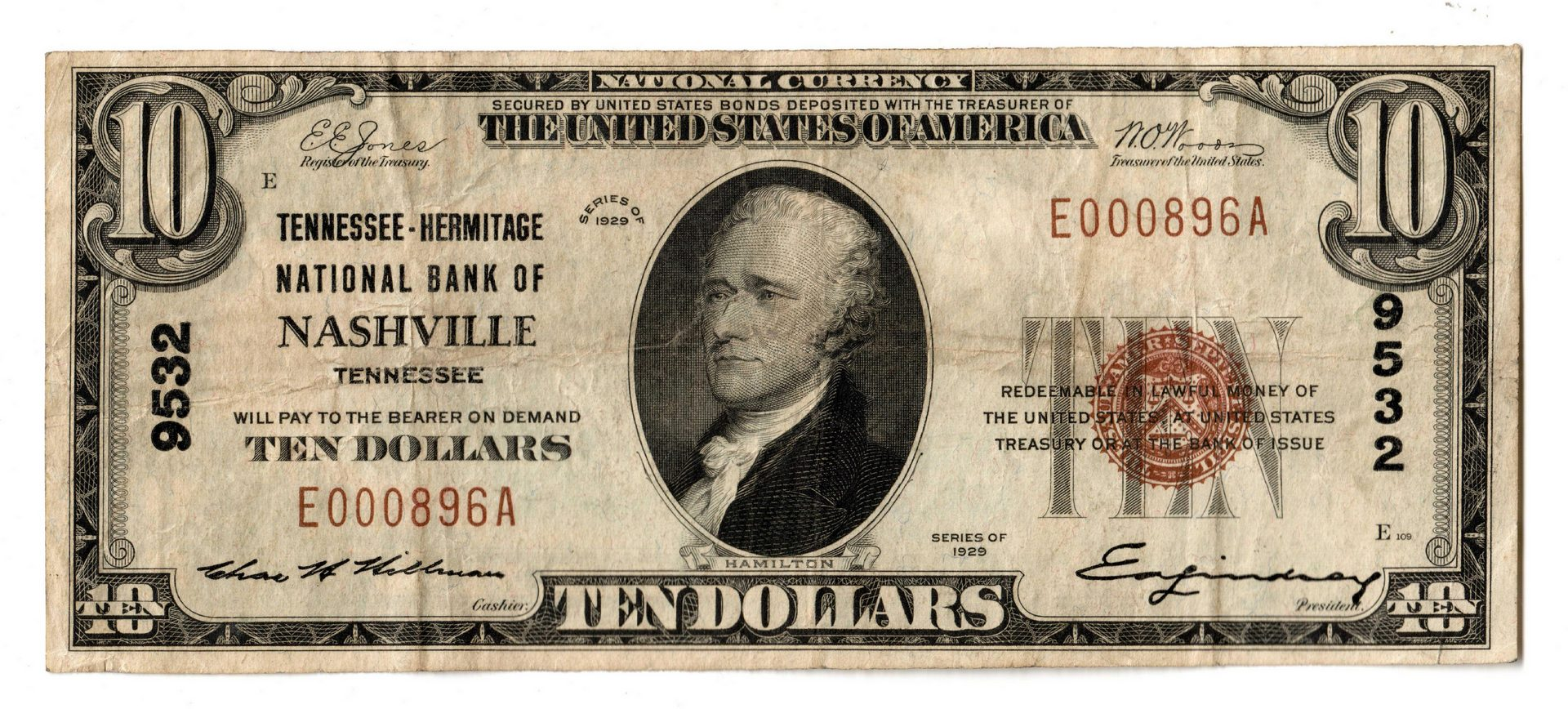 Lot 75: Four 1929 TN $10 Brown Seal National Currency Note