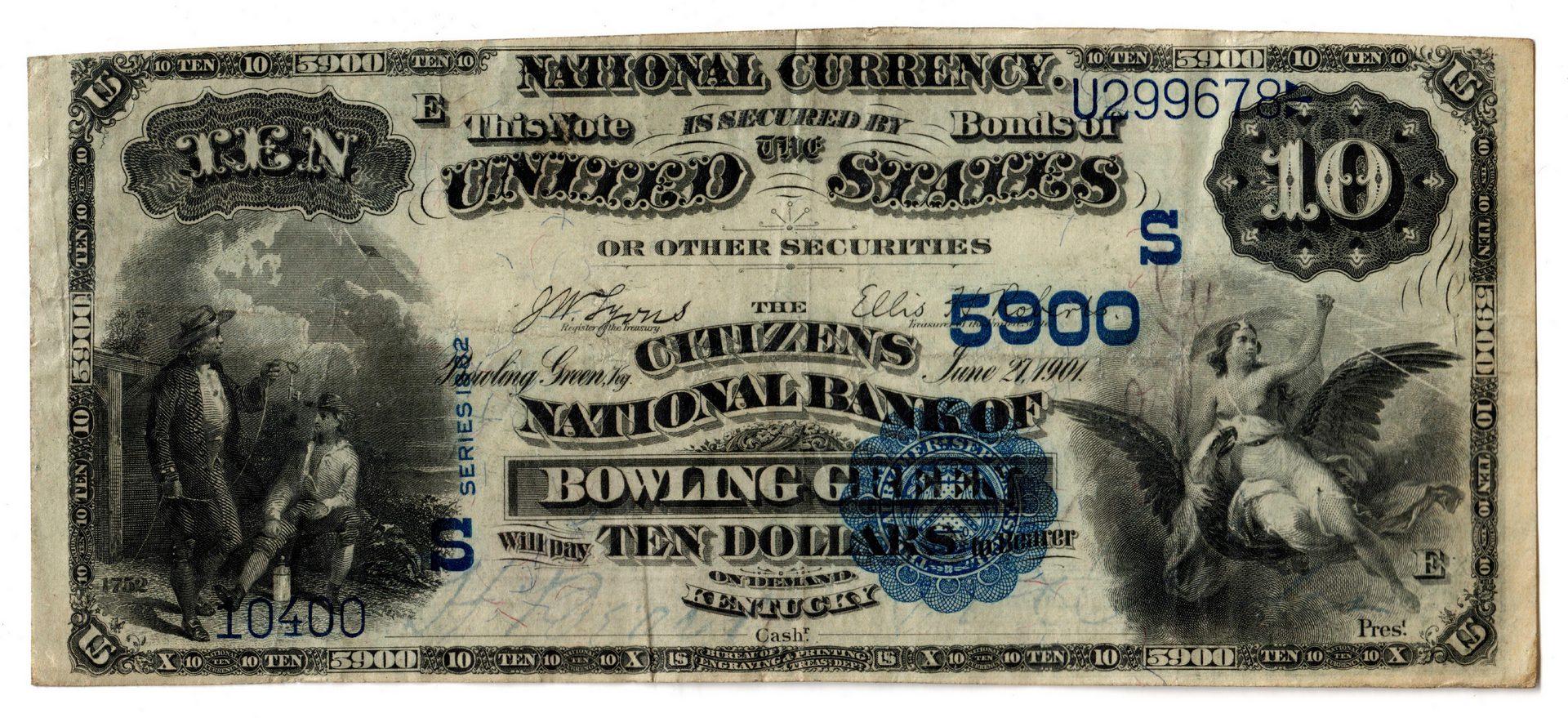 Lot 78: 1882 $10 Citizens National Bank, Bowling Green Nat
