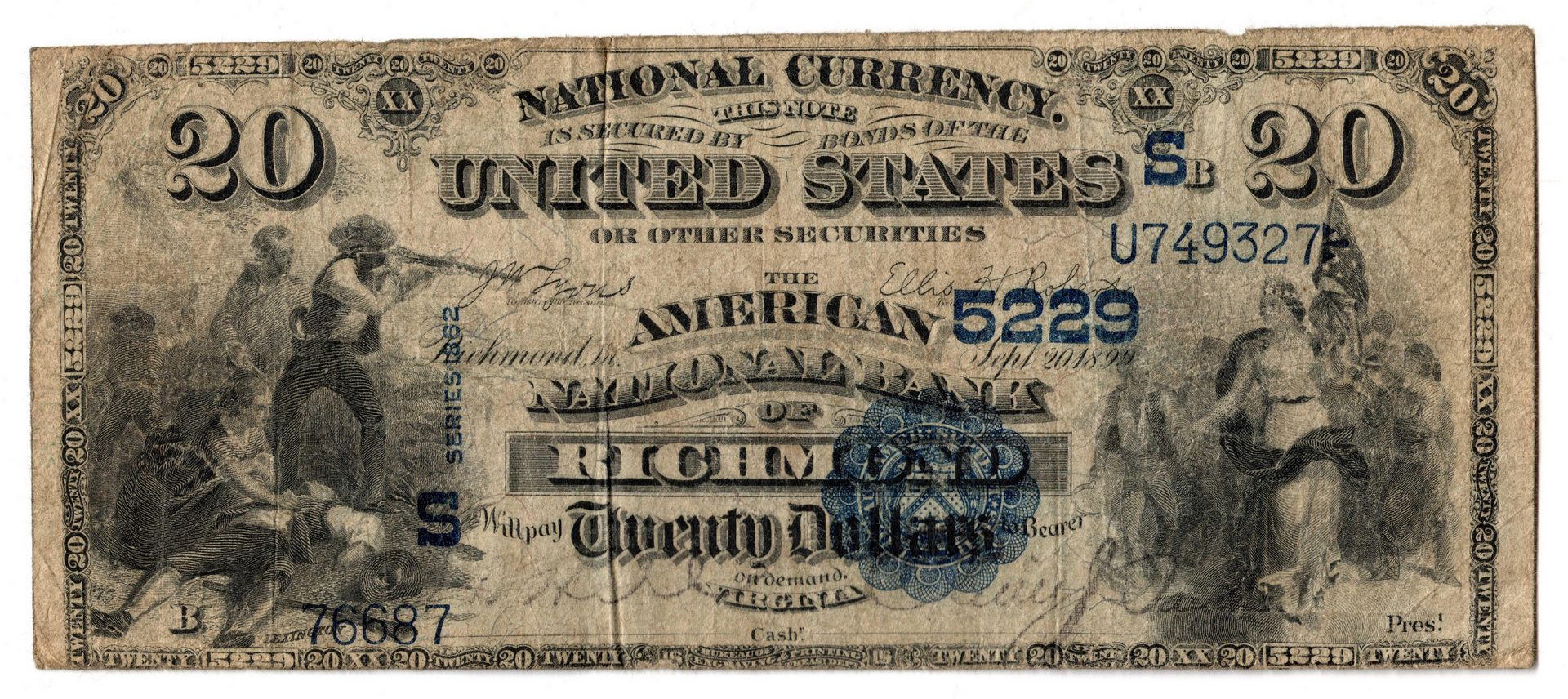 Lot 79: 1882 $20 American National Bank of Richmond Nation