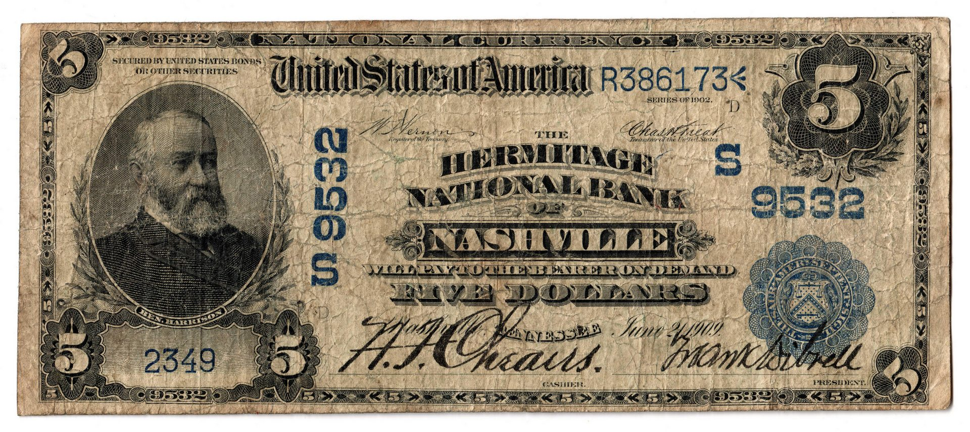 Lot 80: Three 1902 TN $5 Blue Seal National Currency Notes