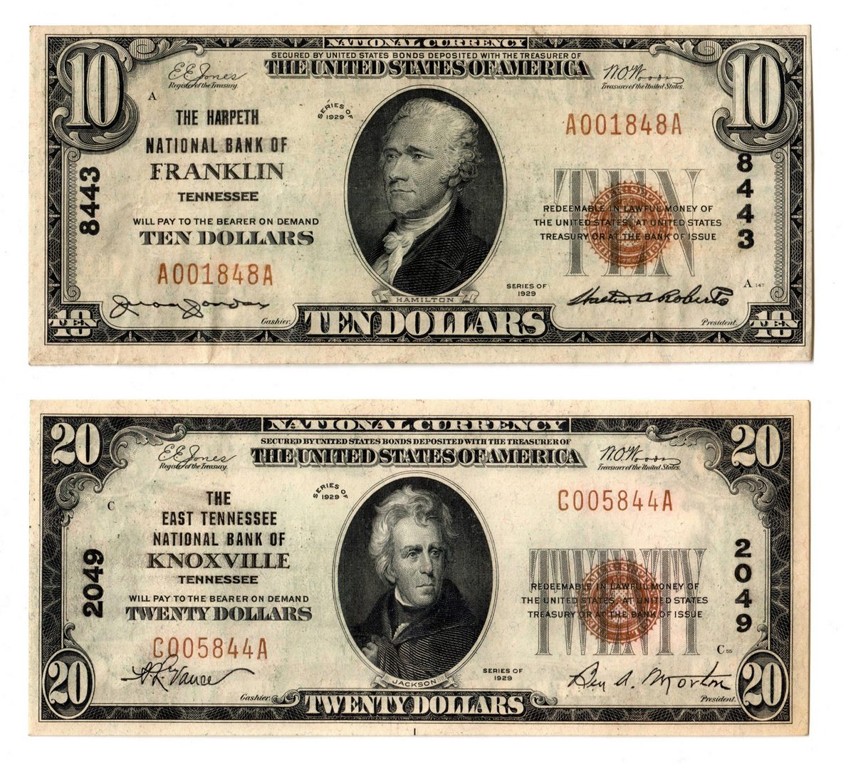 Lot 83: Pair of 1929 TN National Currency Notes, inc. Fran