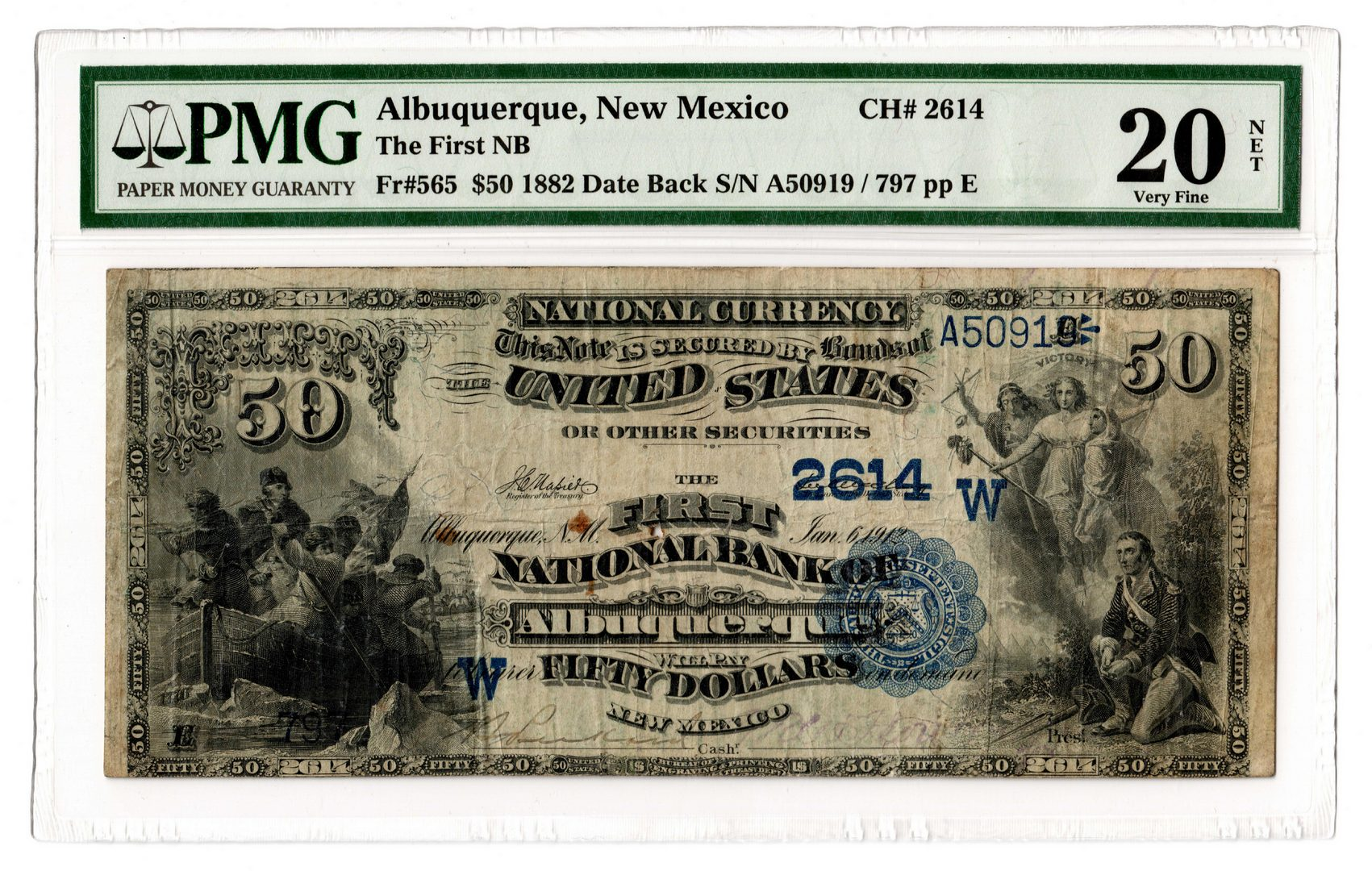 Lot 84: Rare 1882 $50 First National Bank Note-Territorial