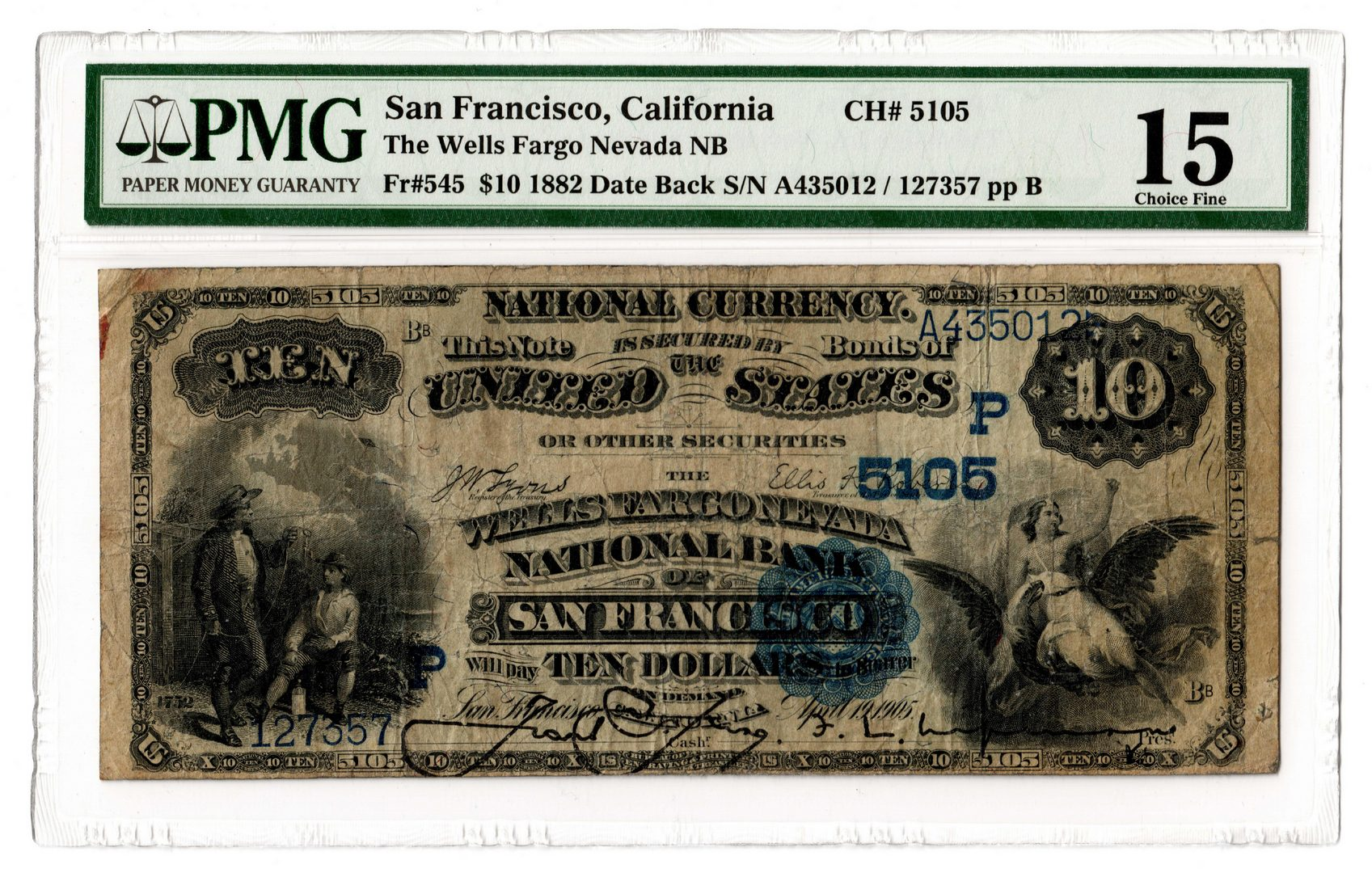 Lot 85: 1882 $10 Wells Fargo Nevada National Bank Note