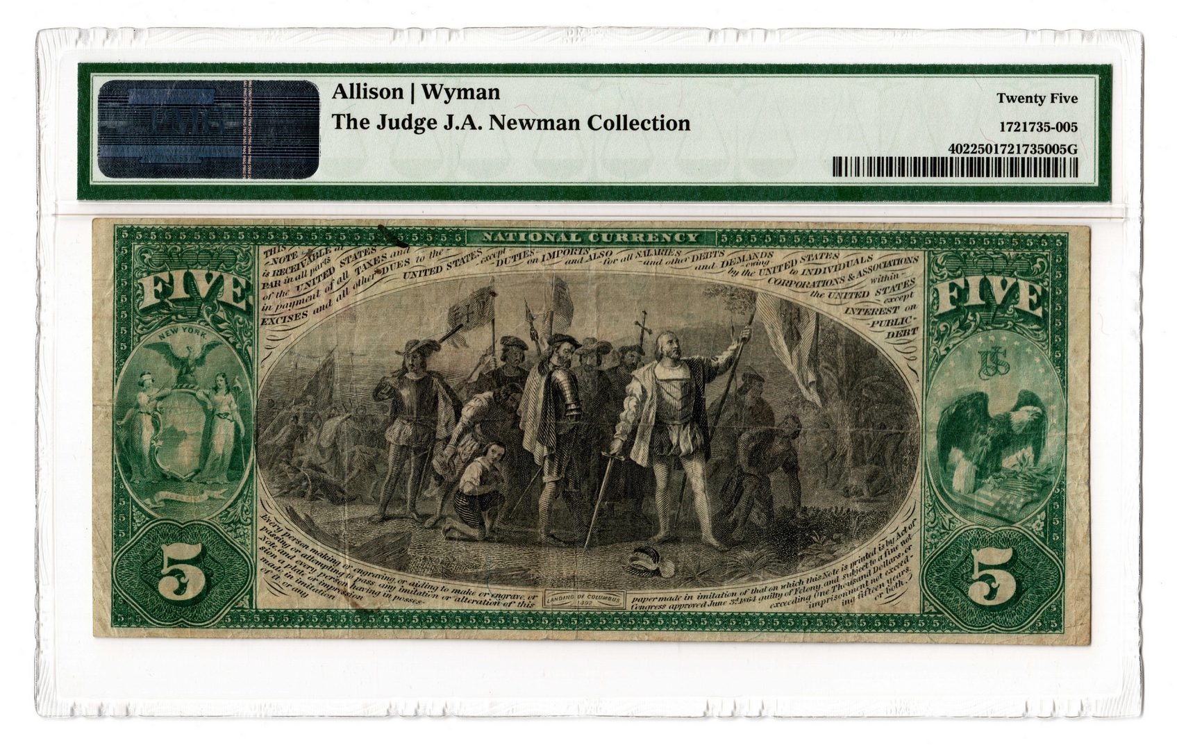 Lot 86: 1875 $5 Tompkins County National Bank of Ithaca, N