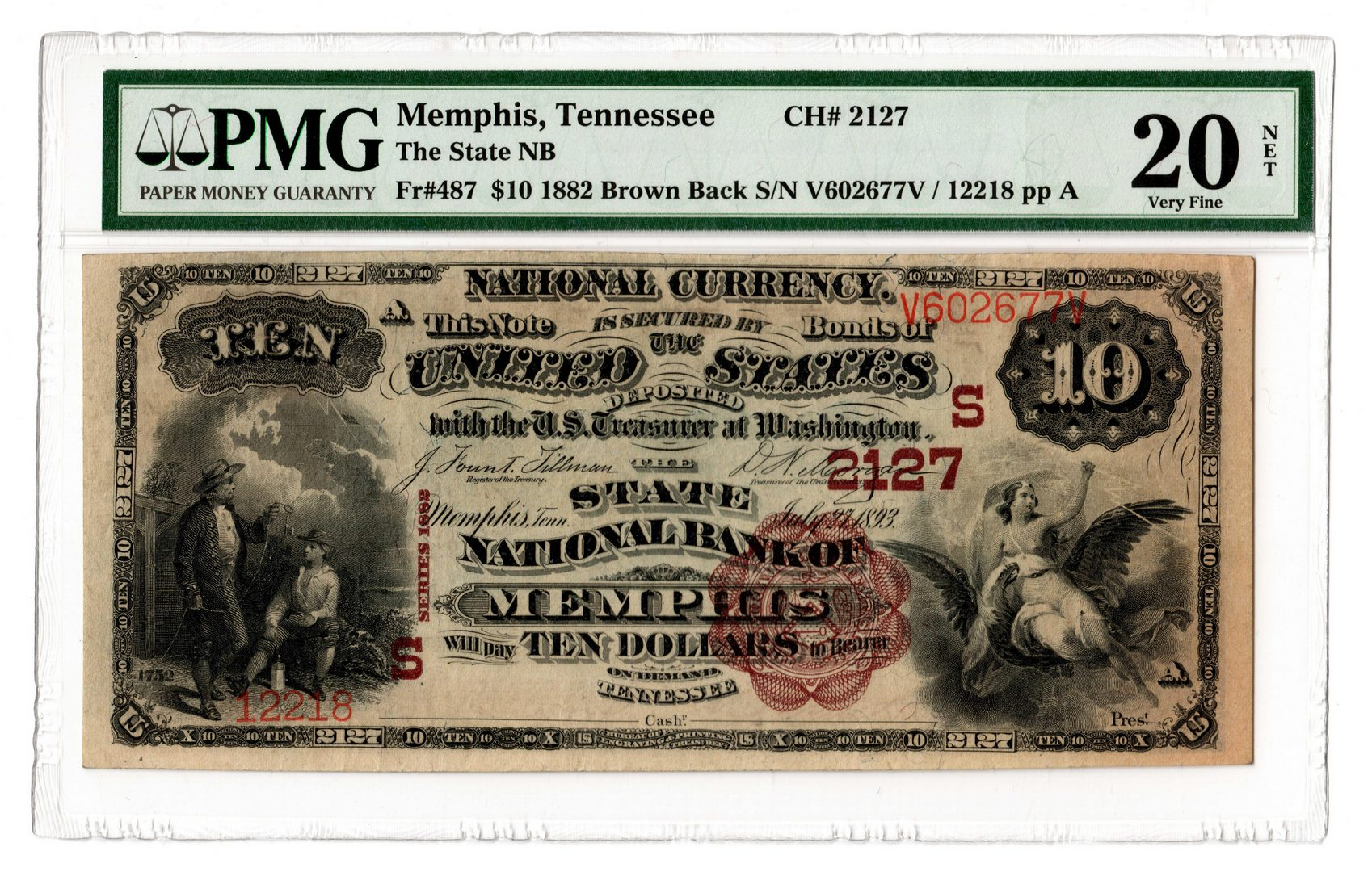 "Lot 87: 1882 $10 ""Brown Back"" National Bank of Memphis"