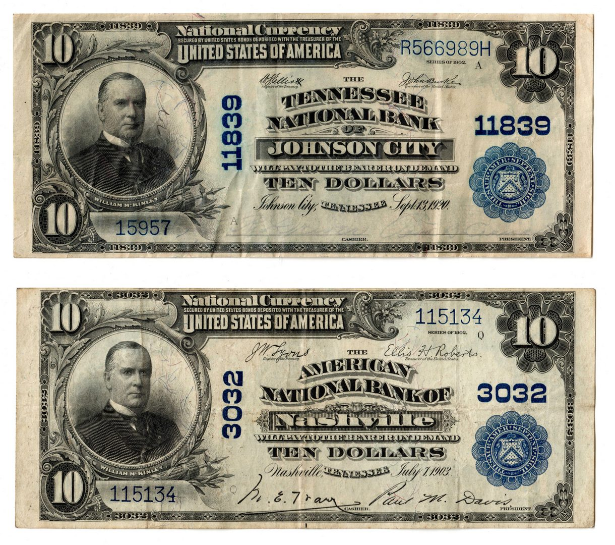 Lot 89: TN $10 Blue Seal National Currency Notes Pair