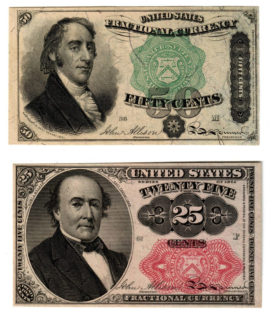 Lot 8: U.S. Fractional Pairing, 50 & 25 Cent Denominations
