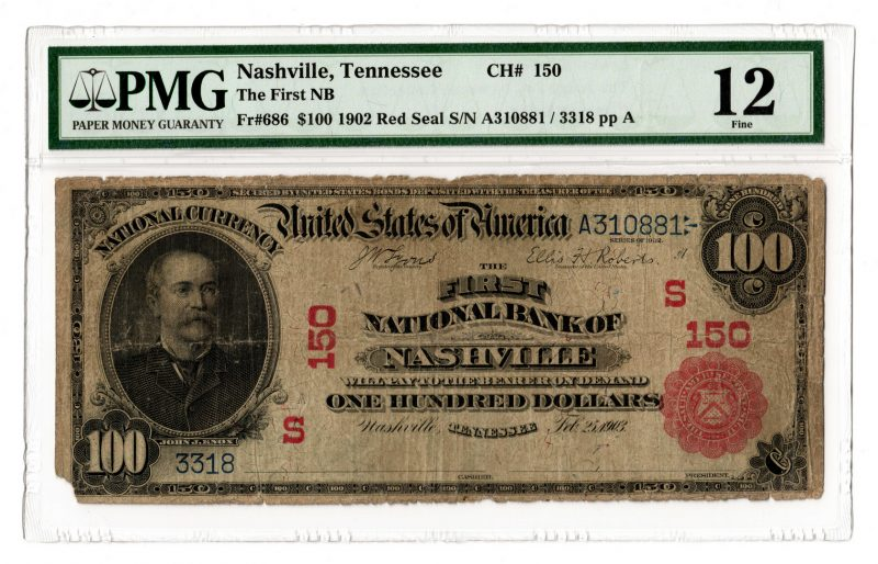 Lot 90: Rare 1902 $100 First National Bank of Nashville