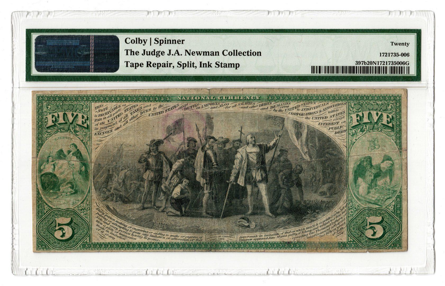 Lot 92: 1875 $5 National State Bank, Newark, NJ National B