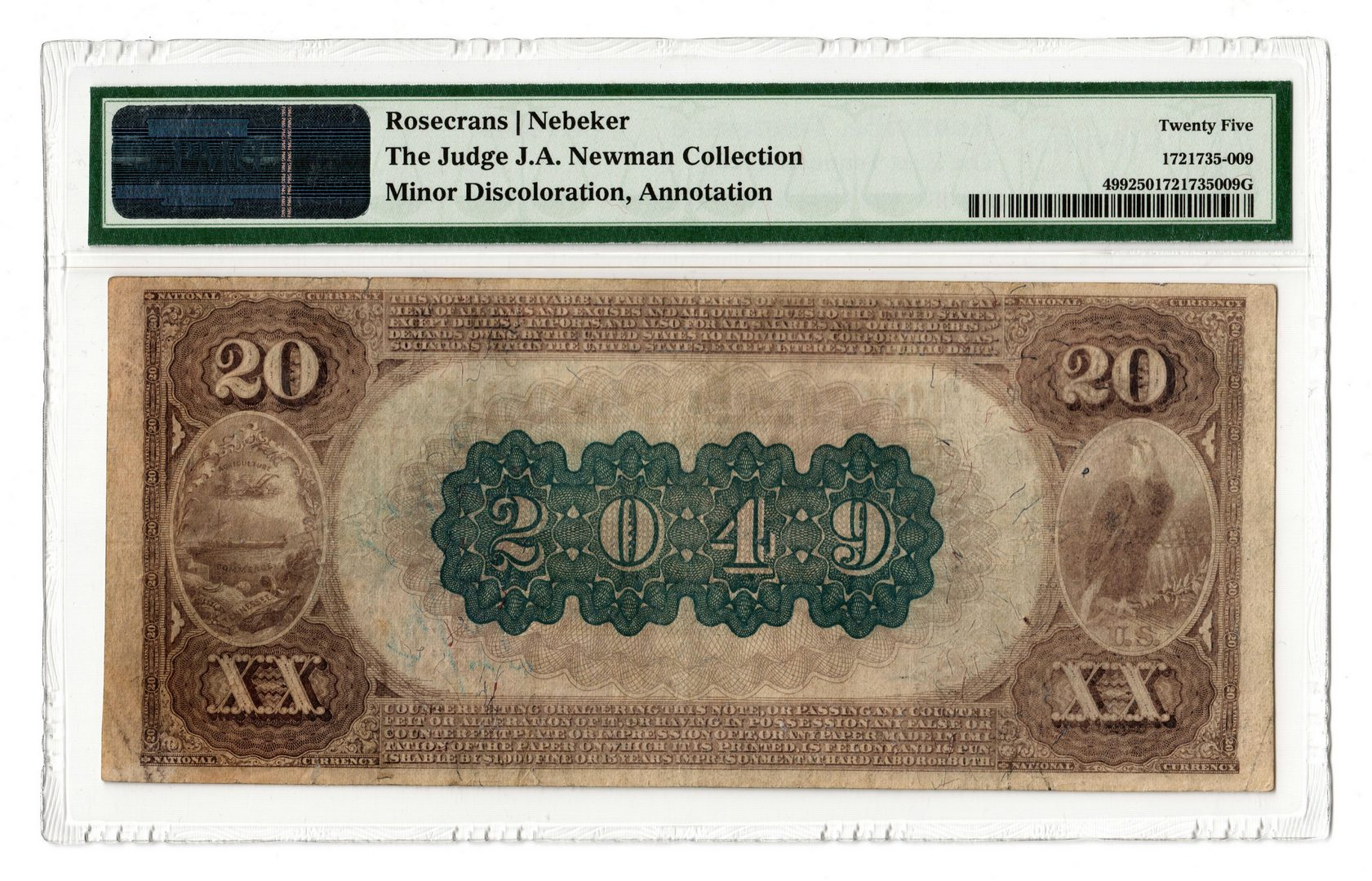 "Lot 93: 1882 $20 ""Brown Back"" East TN National Bank Note"
