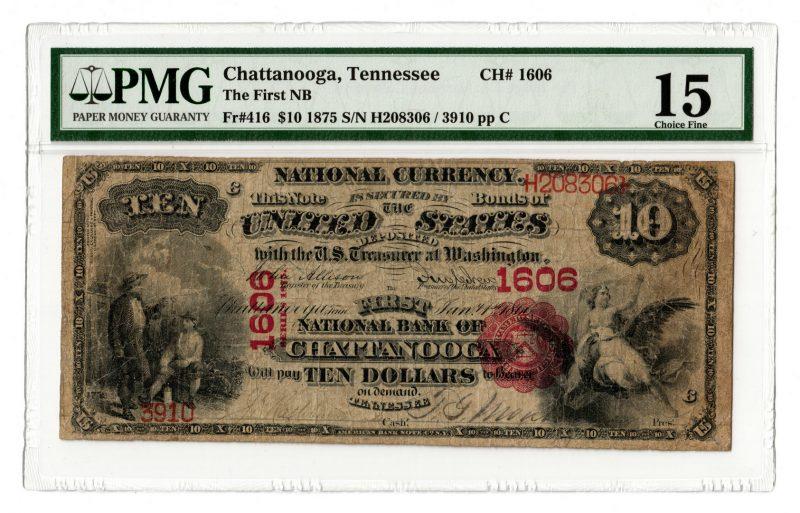 Lot 94: 1875 $10 National Bank of Chattanooga, TN National