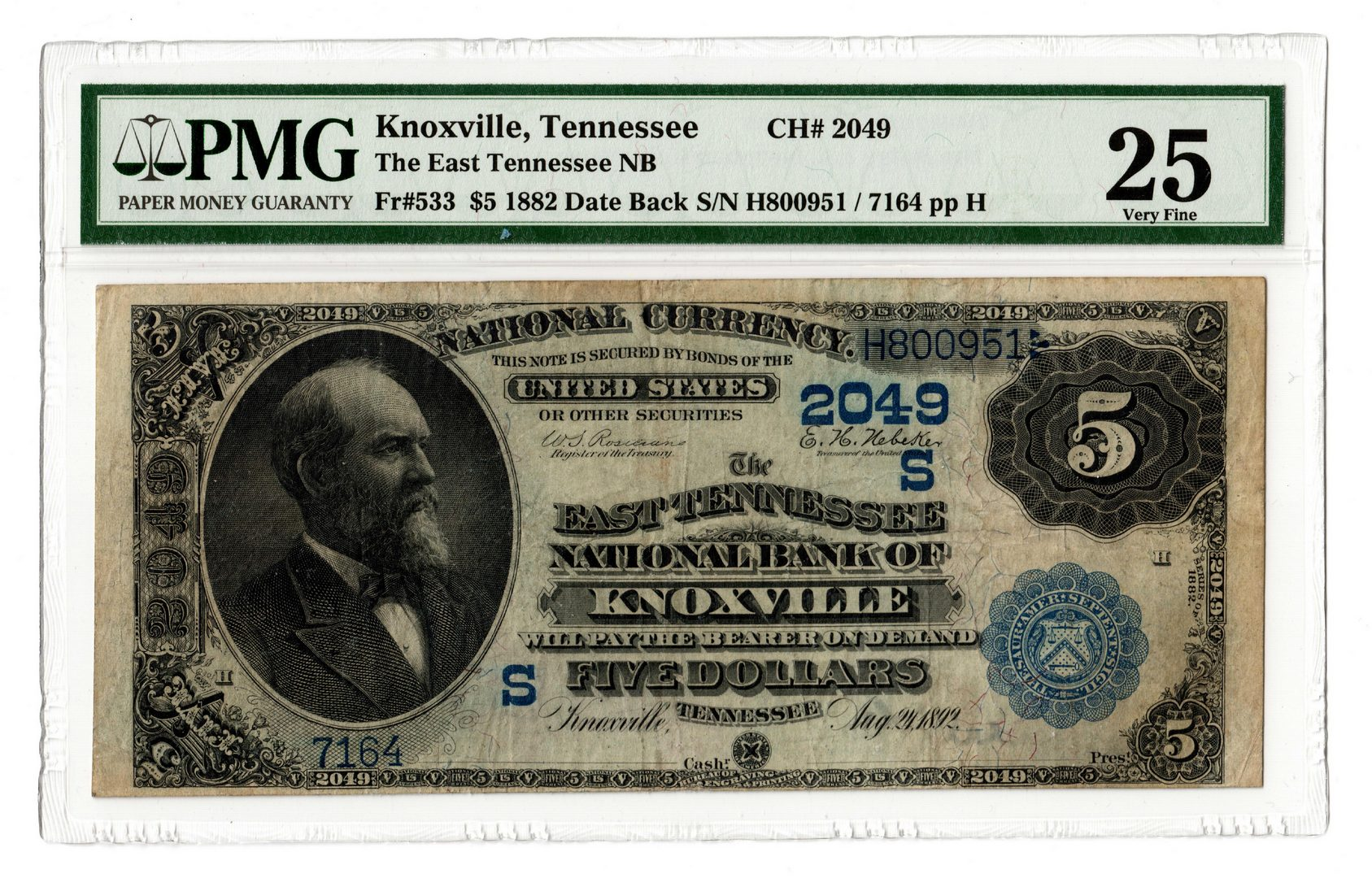 Lot 95: 1882 $5 East TN National Bank of Knoxville Nationa
