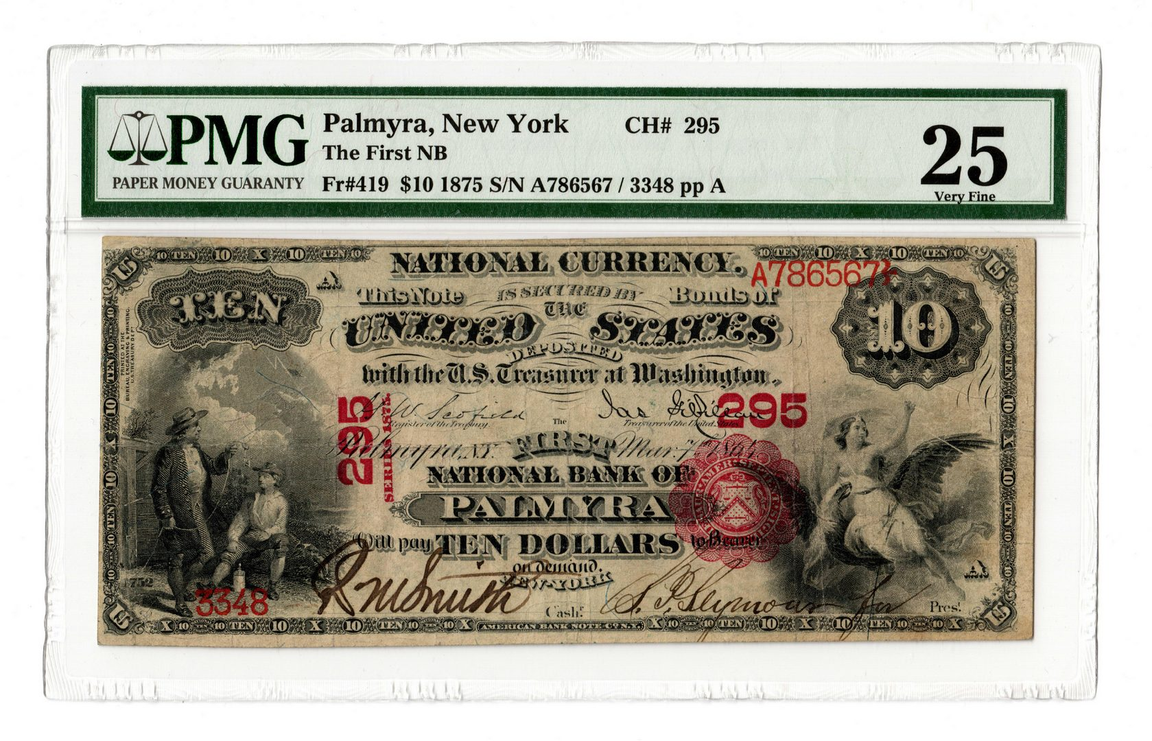 Lot 96: 1857 $10 First National Bank of Palmyra, NY Nation
