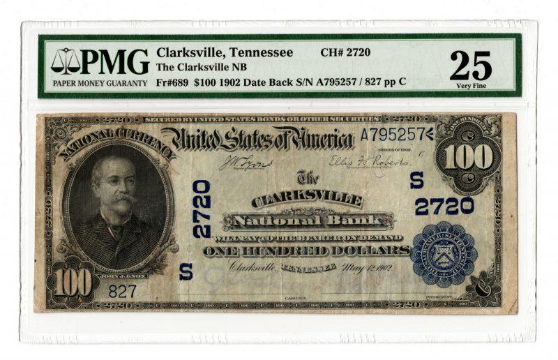 Lot 97: 1902 $100 Clarksville National Bank, TN National B