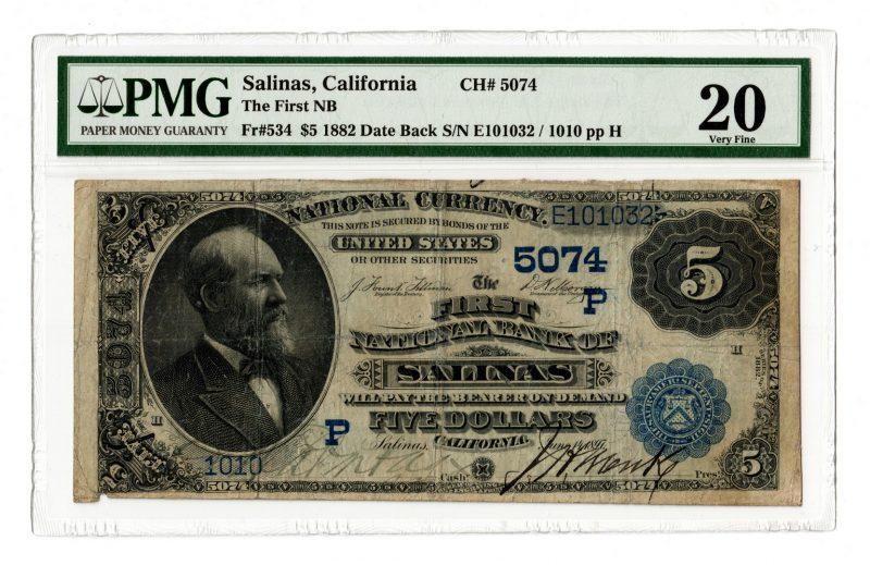 Lot 98: 1882 $5 First National Bank, Salinas, CA National
