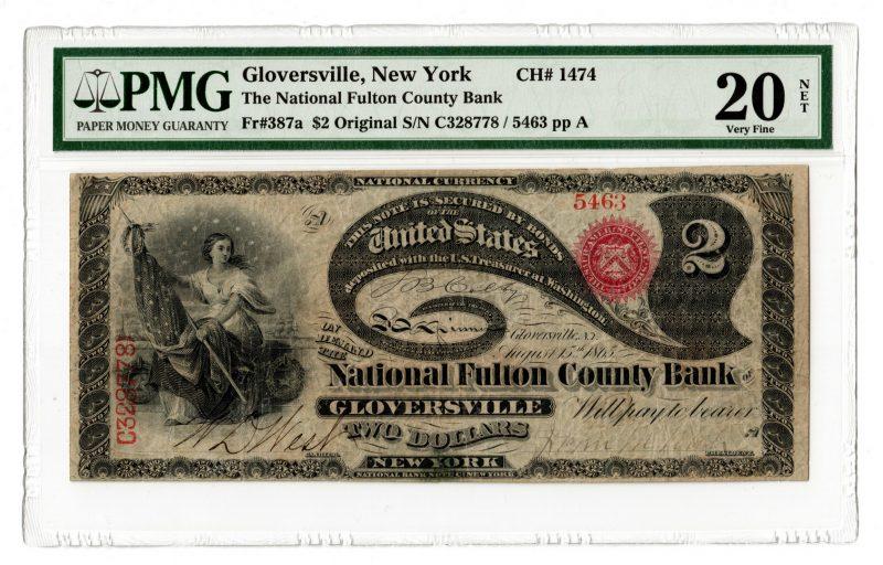 Lot 99: 1865 $2 National Fulton County Bank, Gloversville
